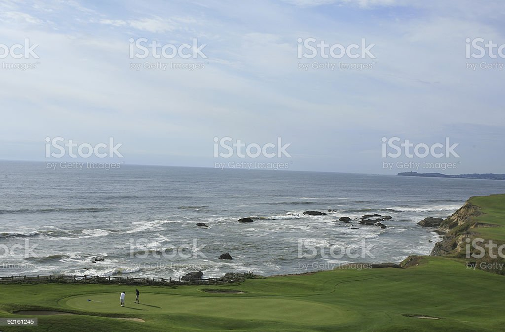 Ocean Golf Green - California stock photo
