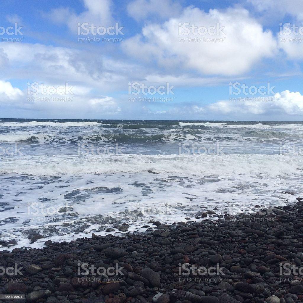 Ocean in Pololu Valley, Hawaii stock photo
