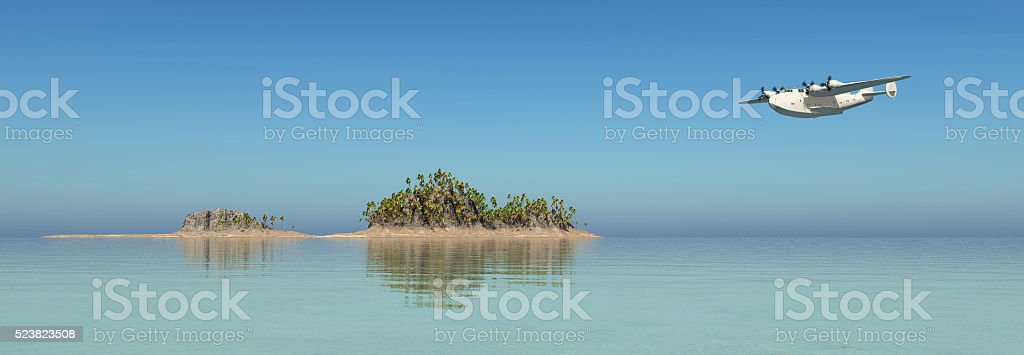 Ocean landscape and flying boat airliner stock photo