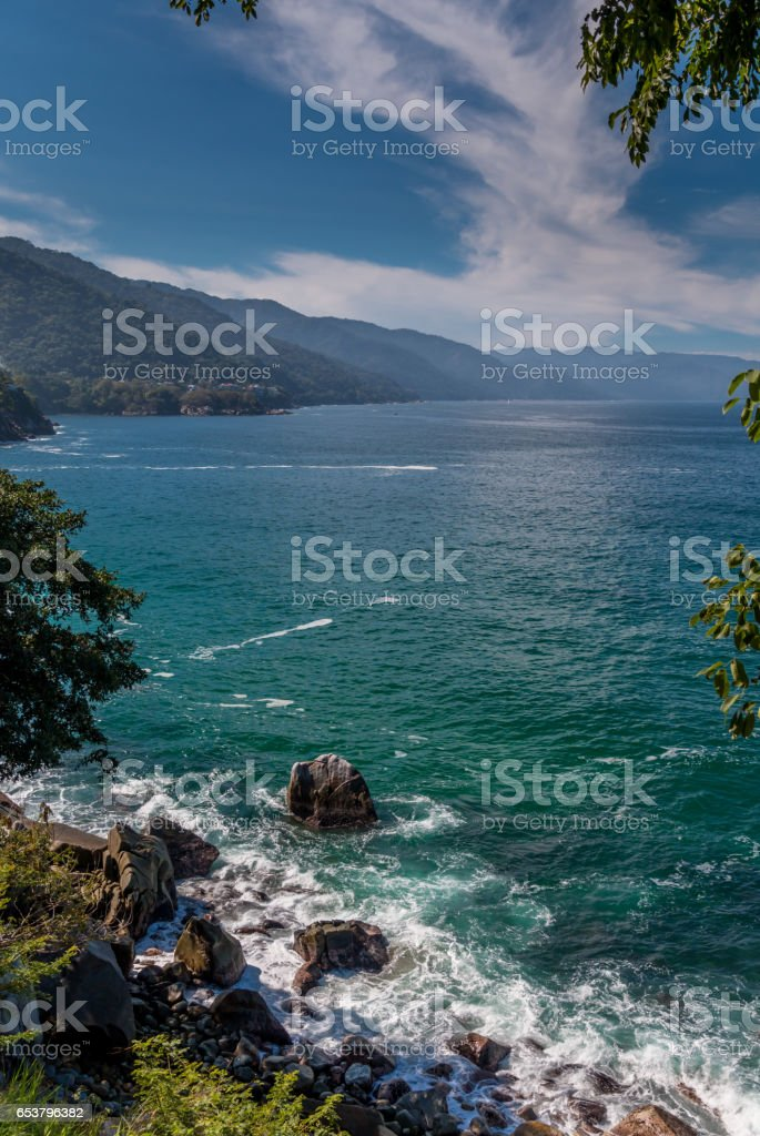 Ocean landscape view south of Puerta Vallarta stock photo