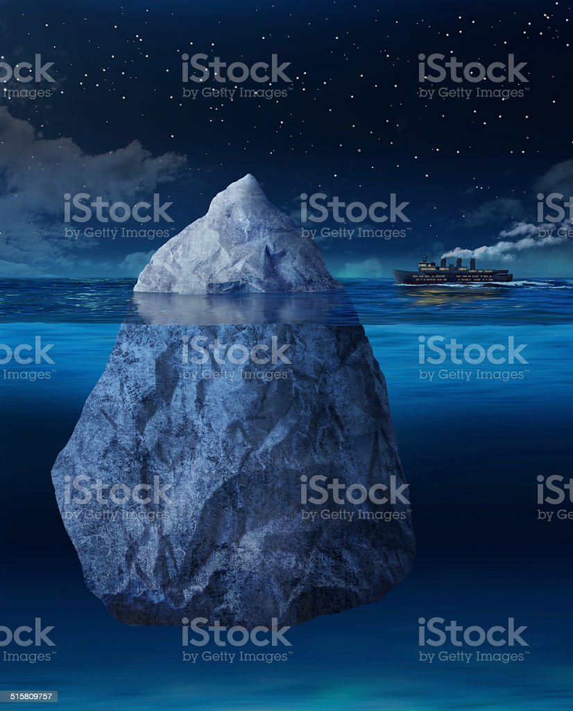 Ocean liner approaching iceberg stock photo