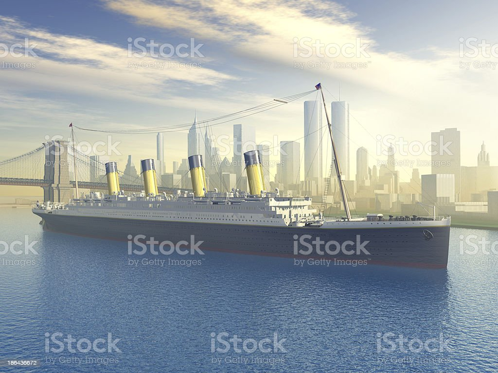 Ocean Liner in New York royalty-free stock photo
