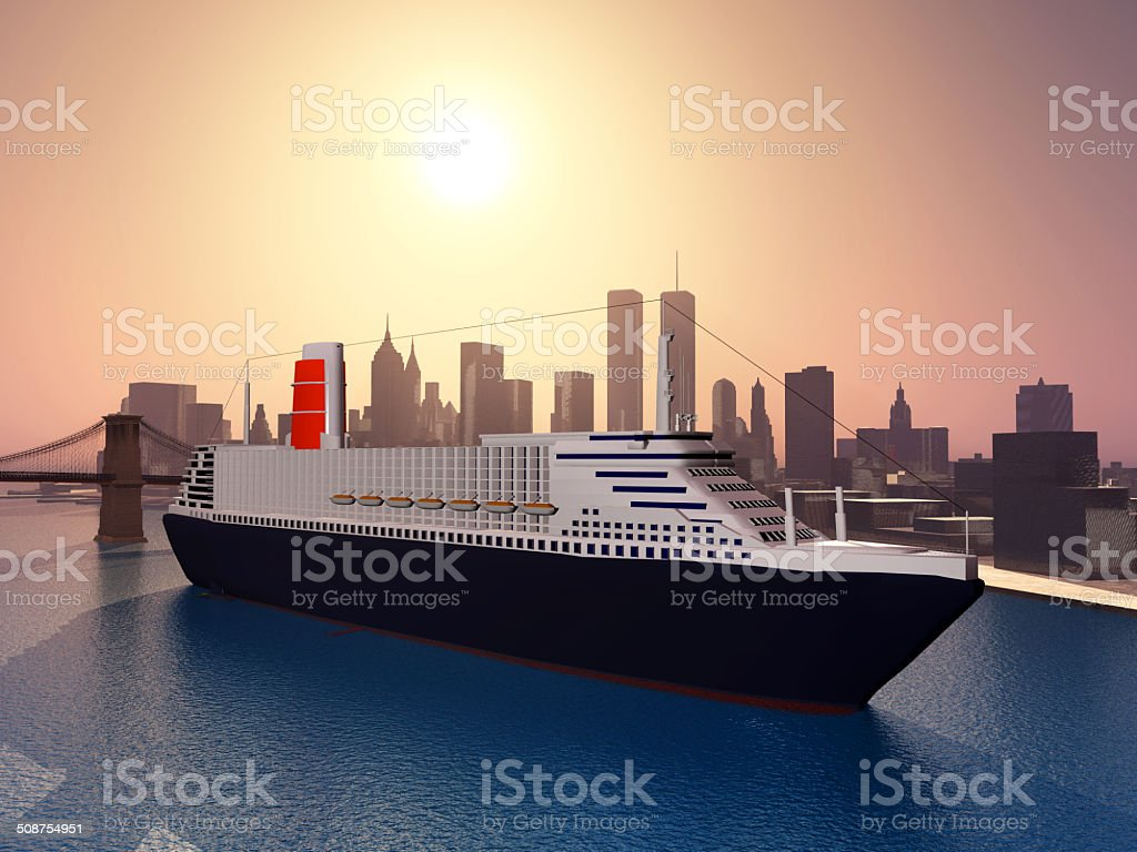 Ocean Liner in New York vector art illustration