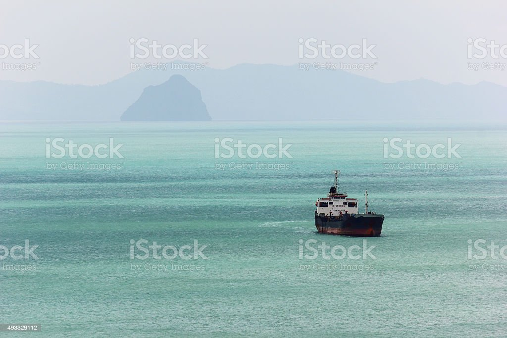 Ocean liner in the sea. stock photo