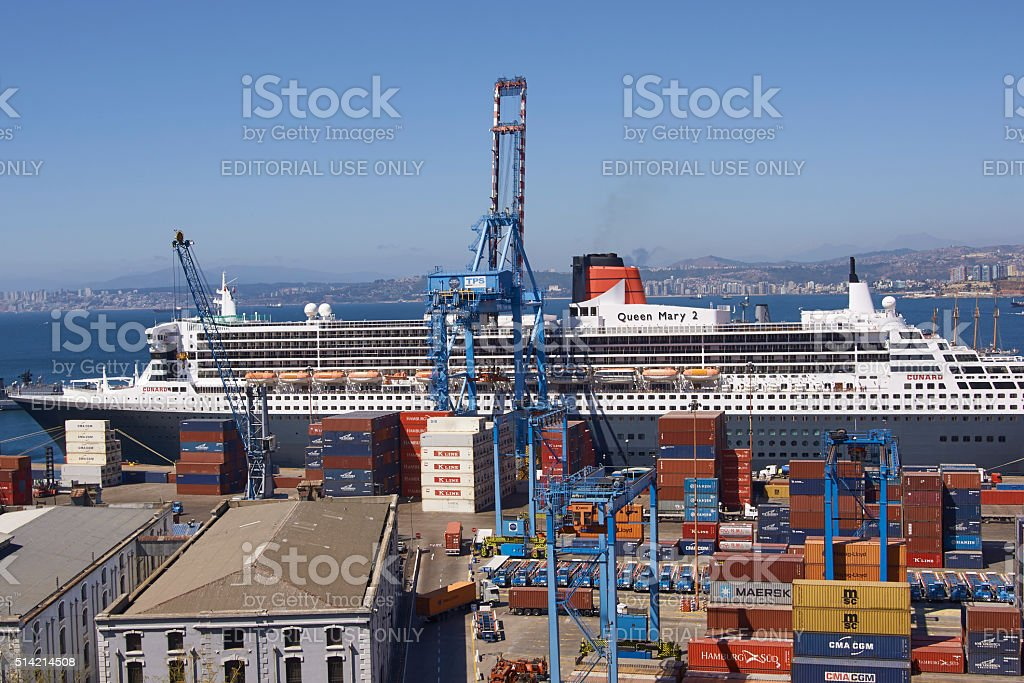 Ocean Liner in Valparaiso stock photo