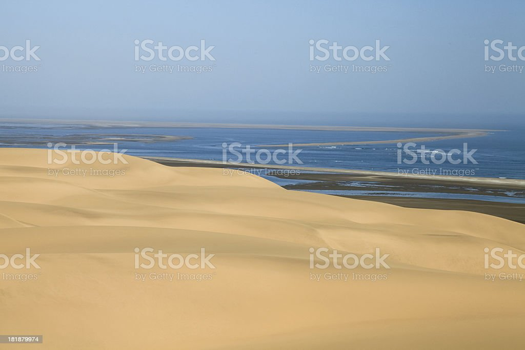 Ocean next to Desert Landscape,Swakopmund, Namibia, Southern Africa. royalty-free stock photo