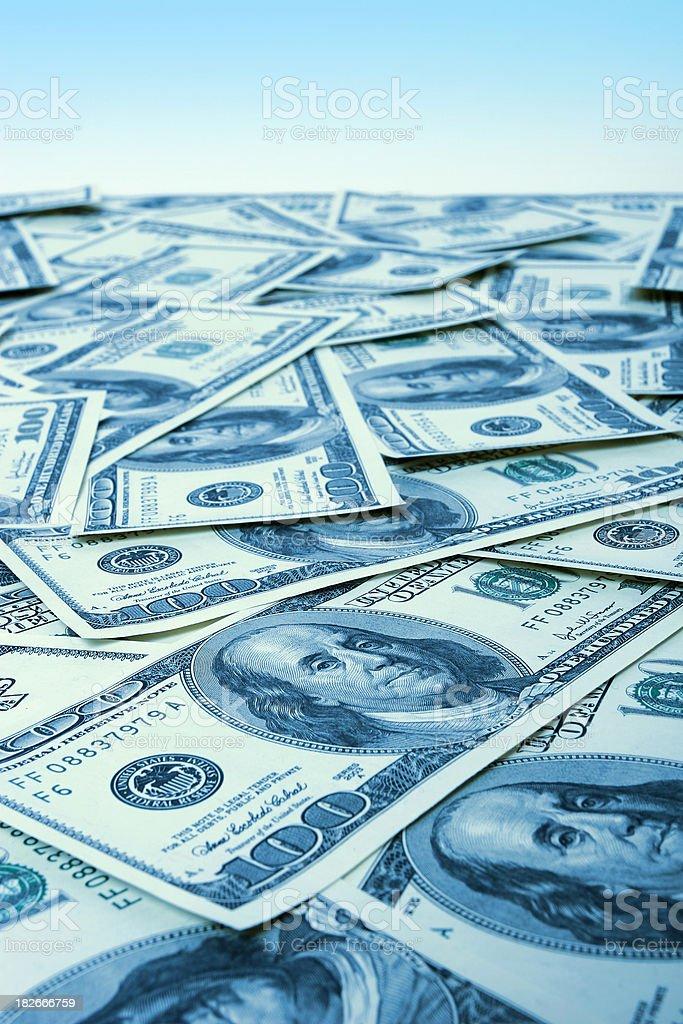 Ocean of dollars royalty-free stock photo