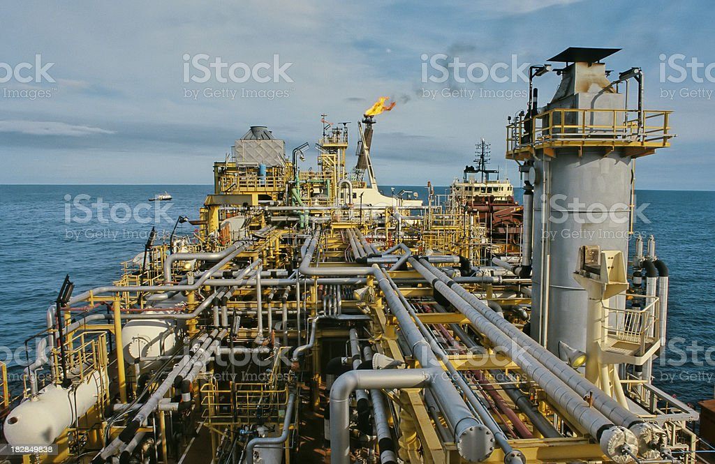 ocean oil rig stock photo