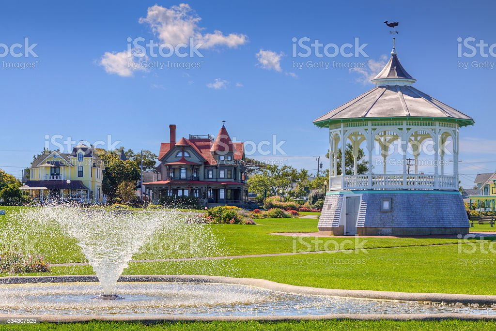 Ocean Park in Oak Bluffs, Martha's Vineyard, Massachusetts, USA. stock photo