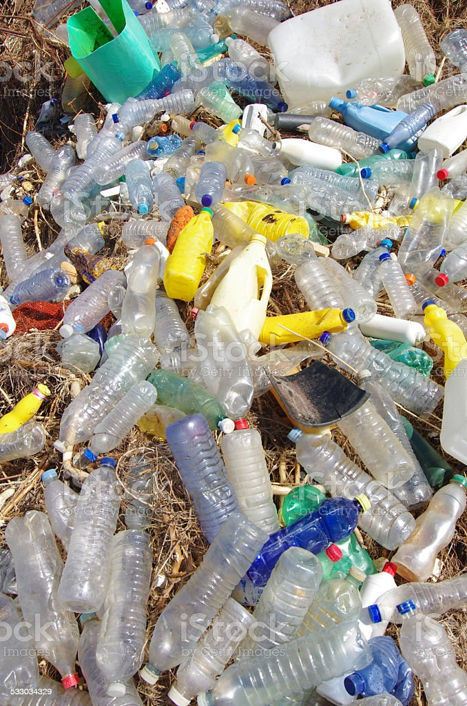 ocean pollution, plastics, bags and wastes stock photo