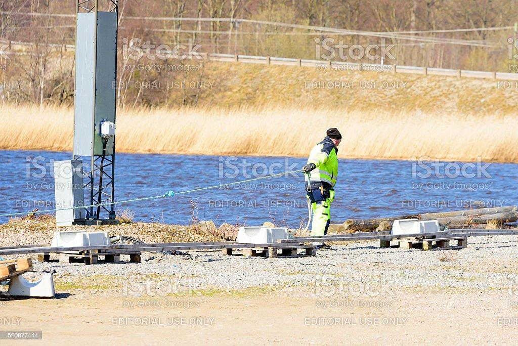 Ocean sewage pipeline stock photo