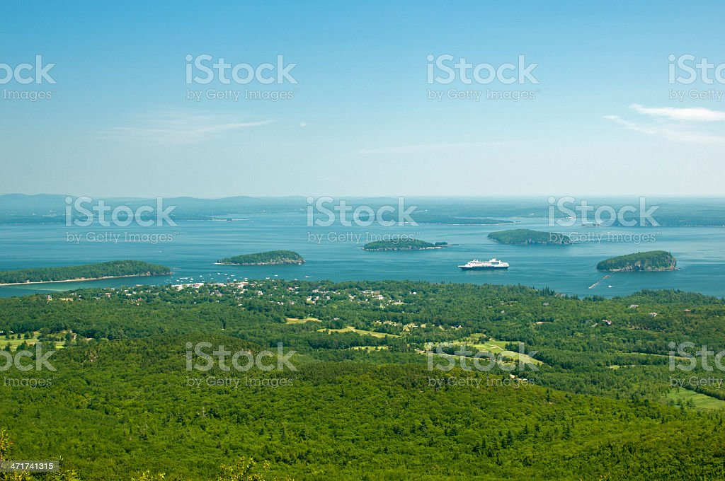Ocean shore and forest landscape stock photo