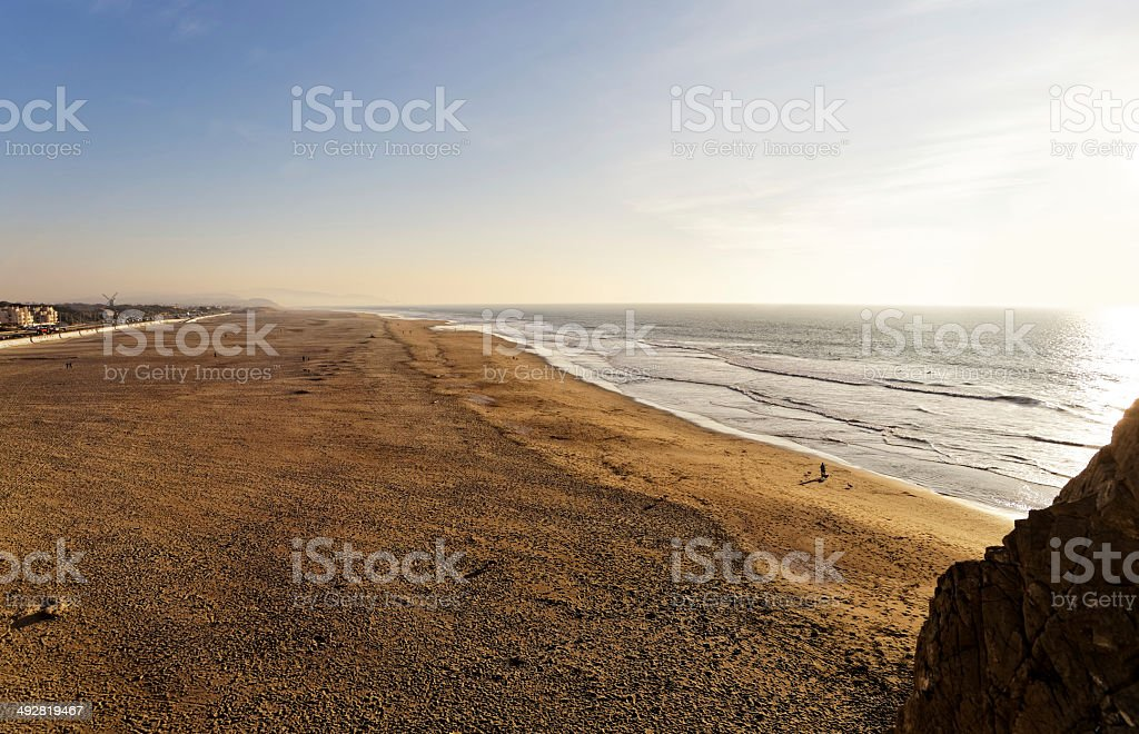 Ocean shore on sunset in San Francisco royalty-free stock photo