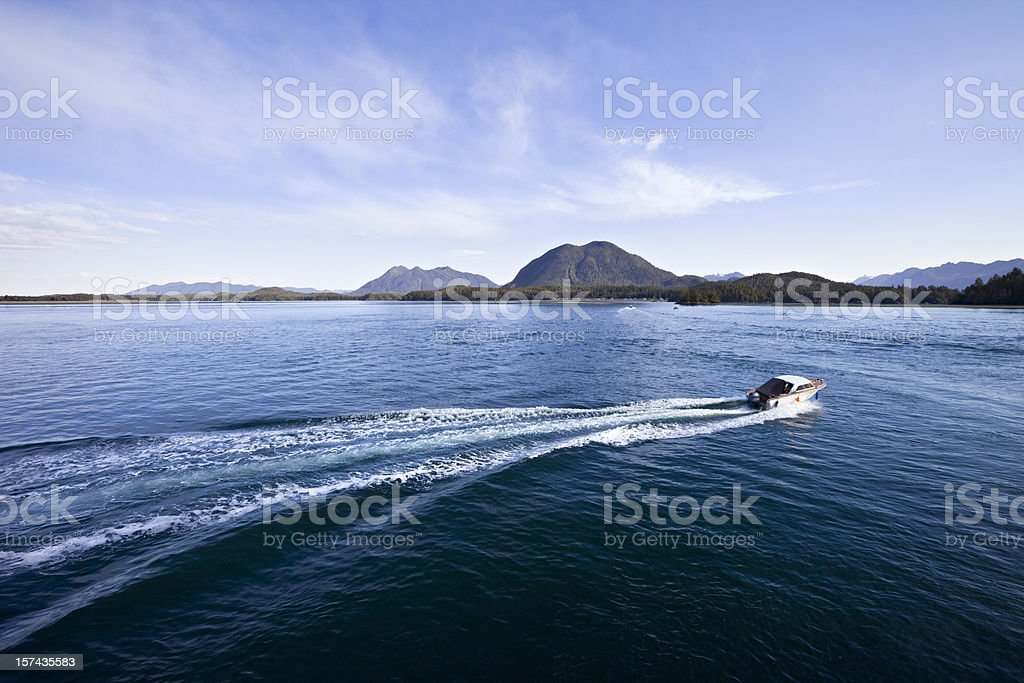 Ocean Shore with motorboat speeding away royalty-free stock photo