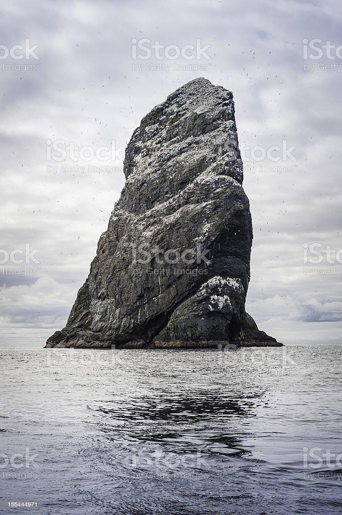 Ocean stack sea bird colony St Kilda Western Isles Scotland stock photo