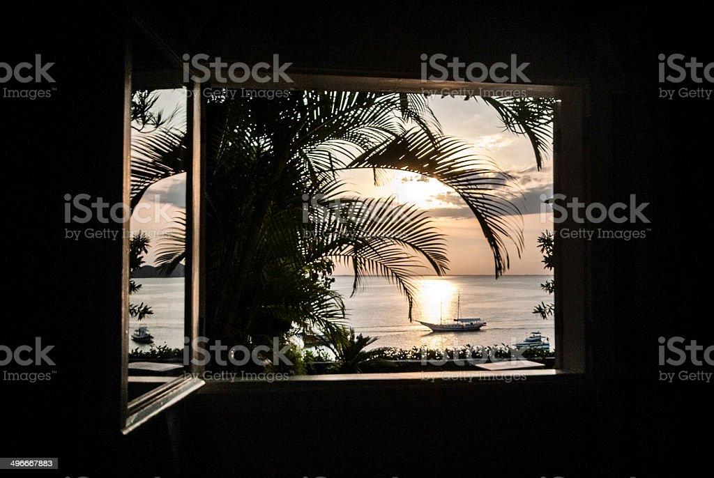 ocean sunset window silhouette royalty-free stock photo