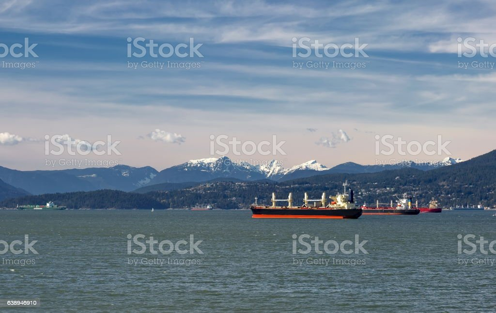 Ocean Tankers in Vancouver Harbor stock photo