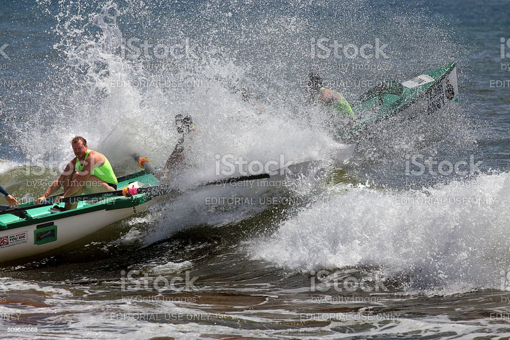 Ocean Thunder surf boat competition in Australia stock photo