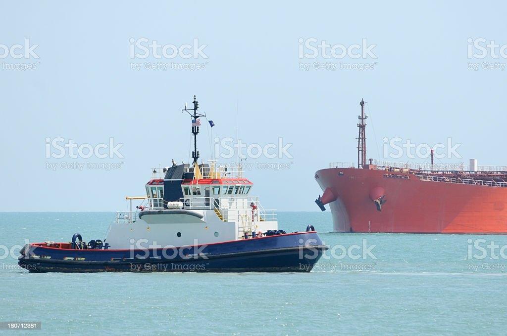 Ocean Tug and Tanker royalty-free stock photo