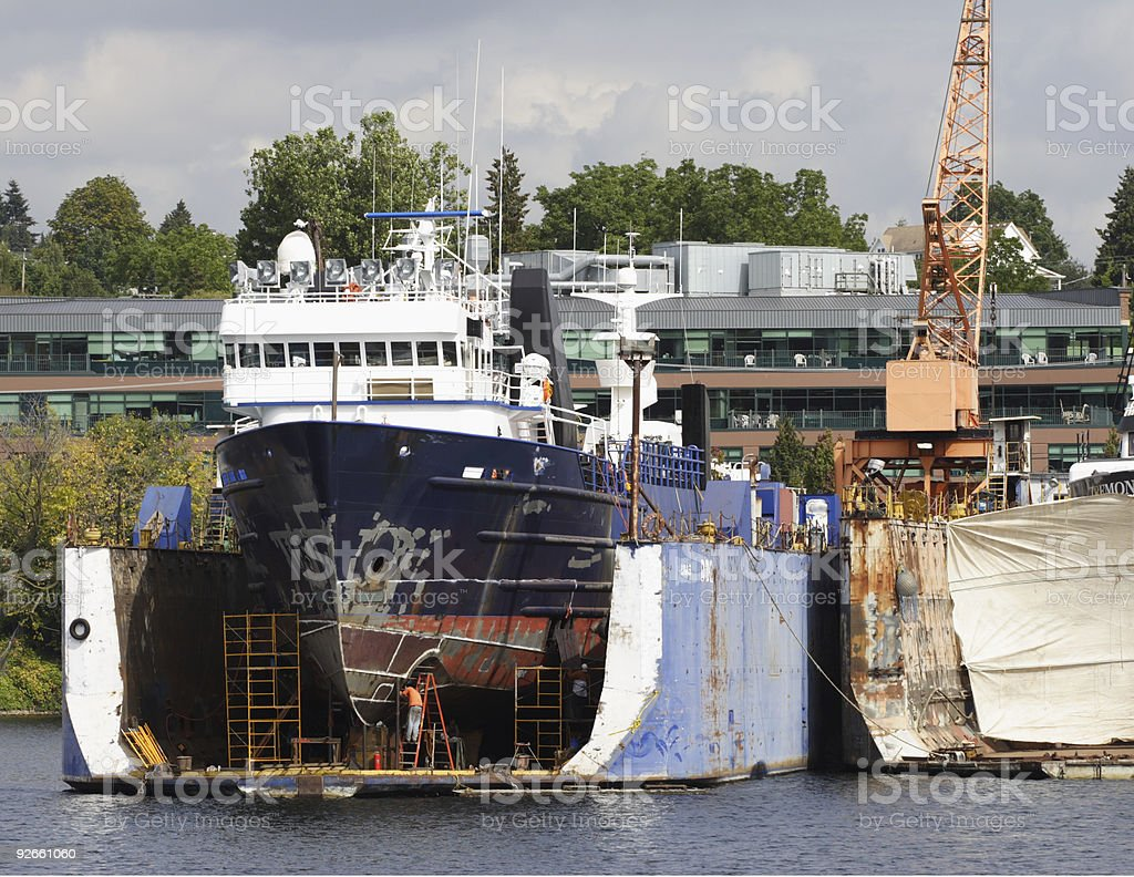 Ocean Vessel in Dry Dock royalty-free stock photo