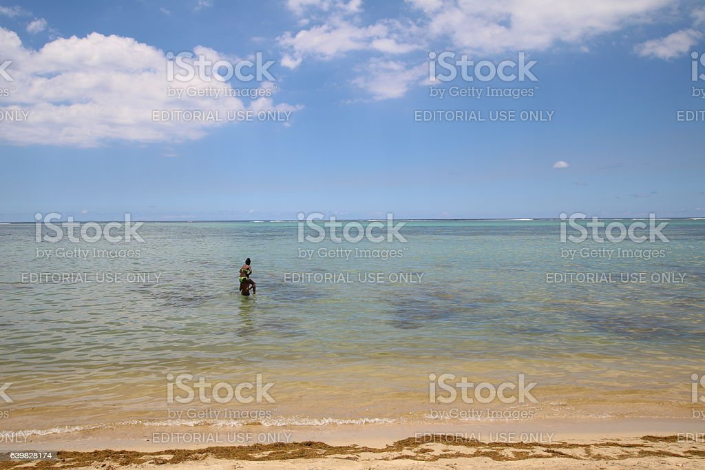 Ocean View, Beach Southwest of Mauritius, Indian Ocean, Africa stock photo