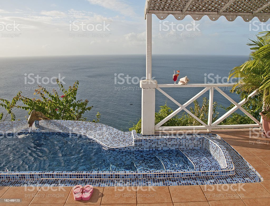 Ocean view from tropical villa royalty-free stock photo