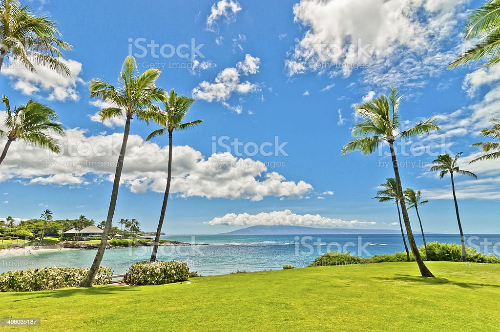 ocean view in West Maui's famous Kaanapali beach resort area stock photo