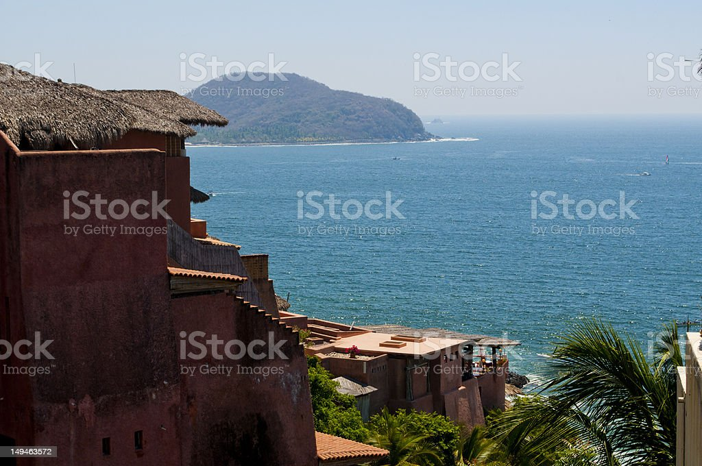 Ocean View in Zihuatanejo Mexico stock photo