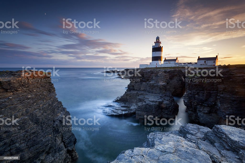 Ocean view of Hook Head Lighthouse stock photo