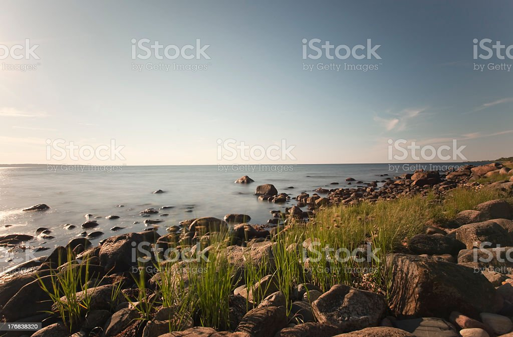 Ocean view. Shot daytime with long exposure. stock photo