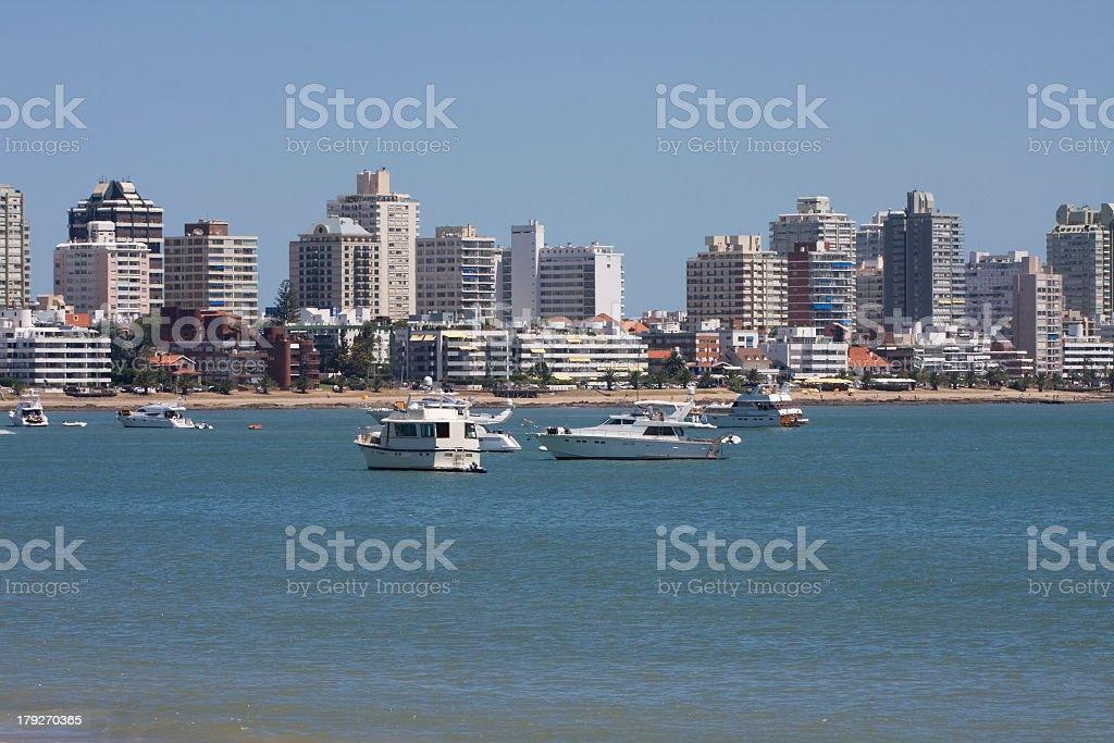 Ocean view with boats of Punta del Este, Uruguay stock photo