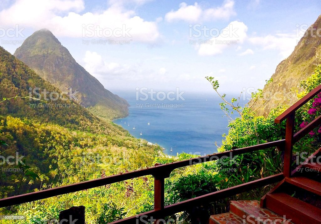 Ocean view with mountains in Saint Lucia stock photo