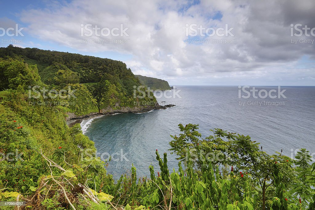 Ocean views and cliffs from Hana highway stock photo