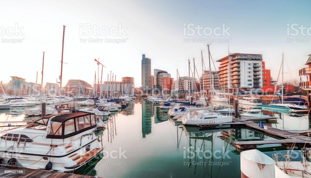 Ocean Village Marina in Southampton stock photo