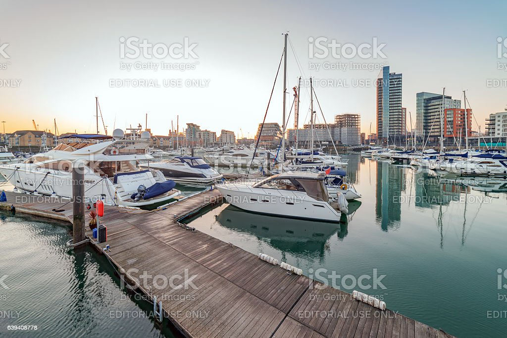 Ocean Village Marina in Southampton stock photo