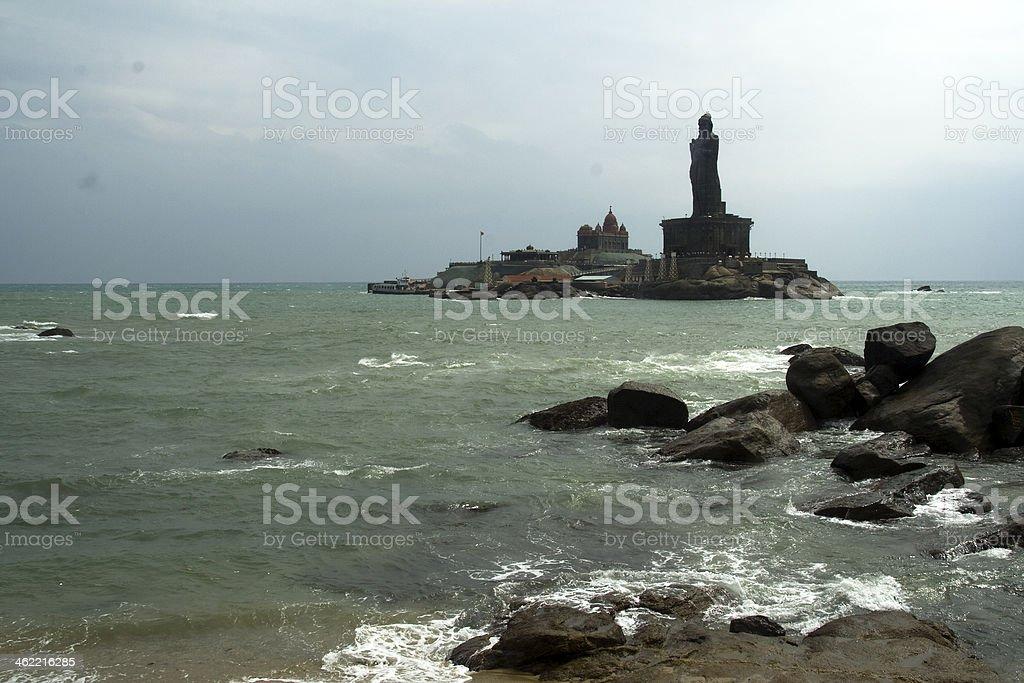 Ocean Water, Rocks and Memorials royalty-free stock photo