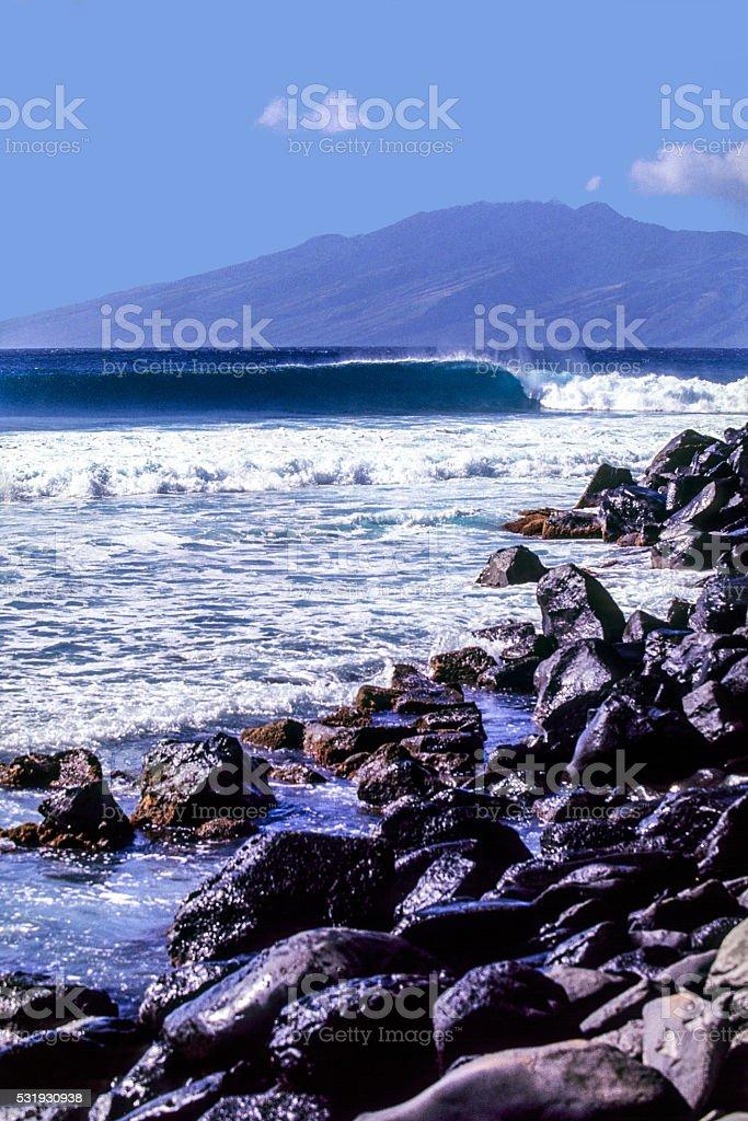 Ocean Wave at Honolua Bay stock photo