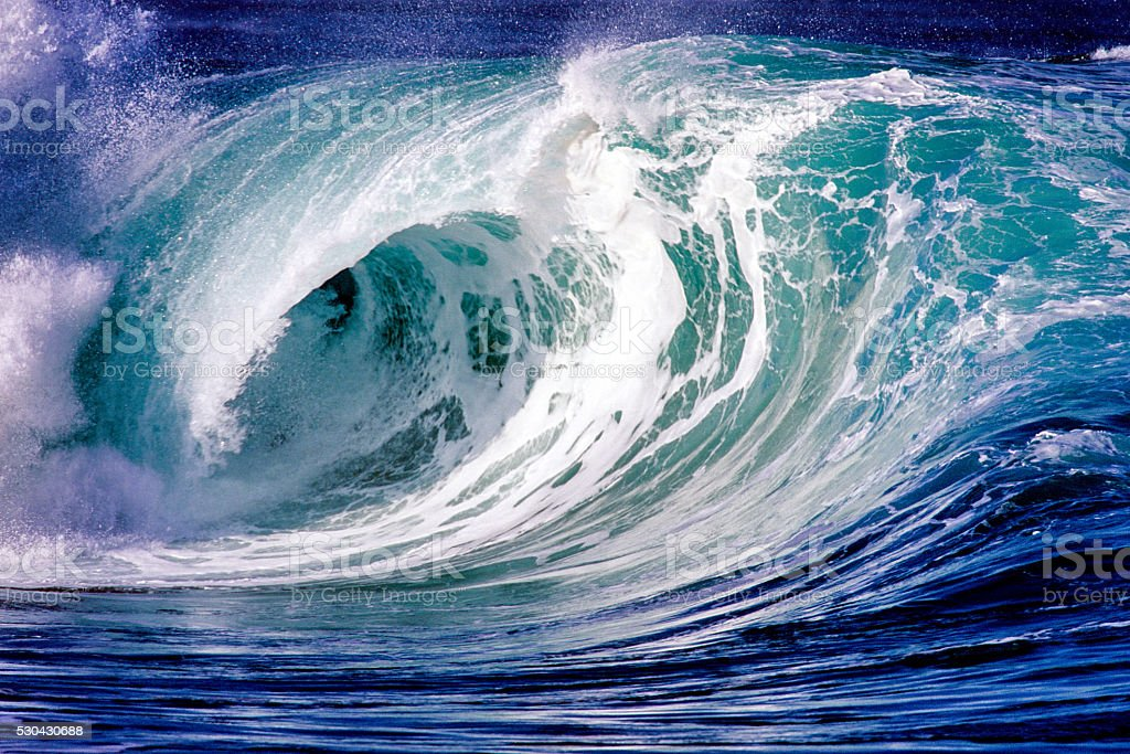 Ocean wave at Waimea Bay stock photo