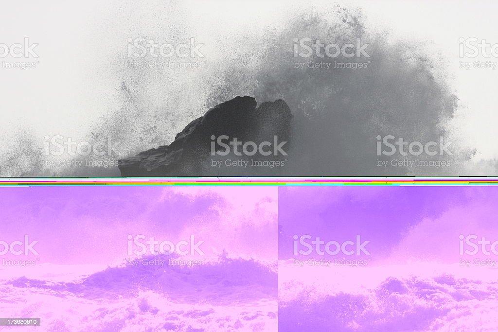 Ocean Wave Crashes Rock Coast Surf Spray stock photo