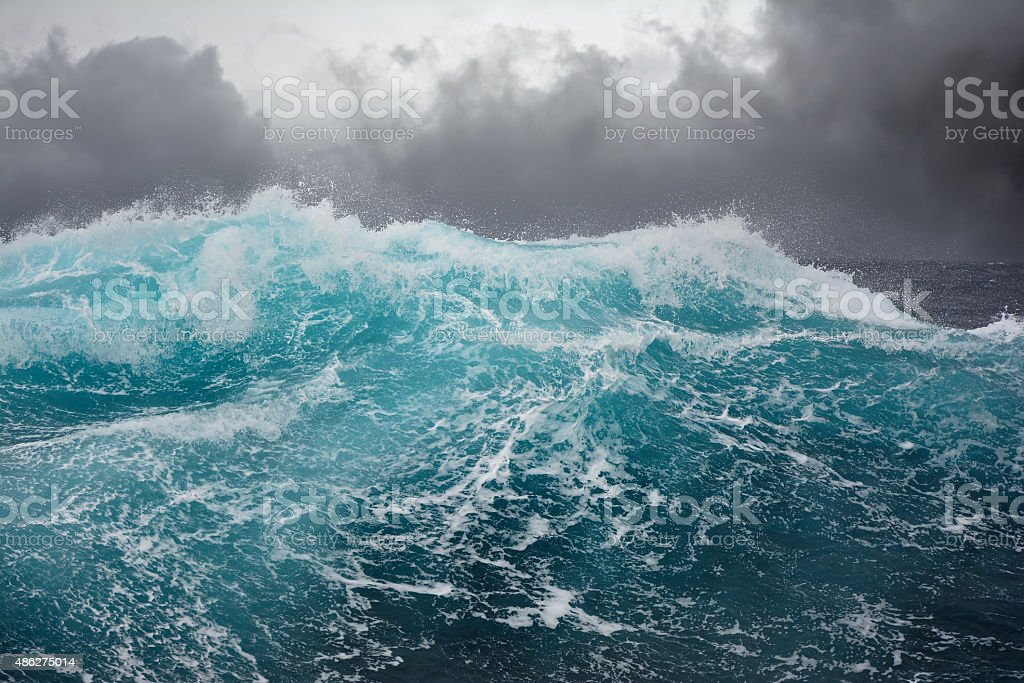 ocean wave during storm in the atlantic ocean stock photo