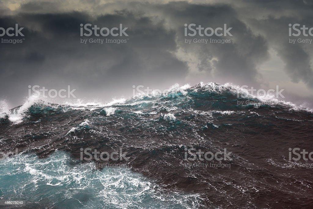 ocean wave during storm in the atlantic ocean stock photo