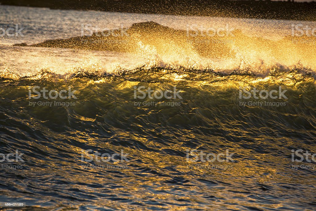 Ocean wave in sunset. royalty-free stock photo