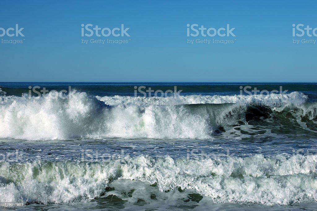 Ocean waves and blue sky stock photo