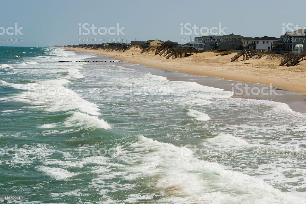 Ocean Waves and Surf from Above, Beach at Outer Banks stock photo