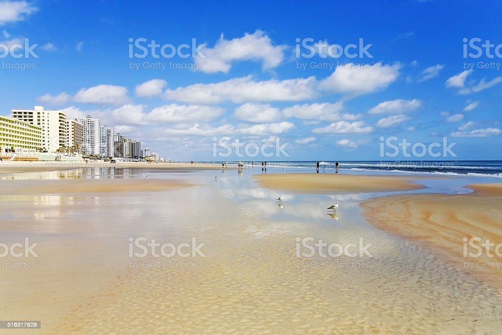 Ocean waves at Florida beach stock photo
