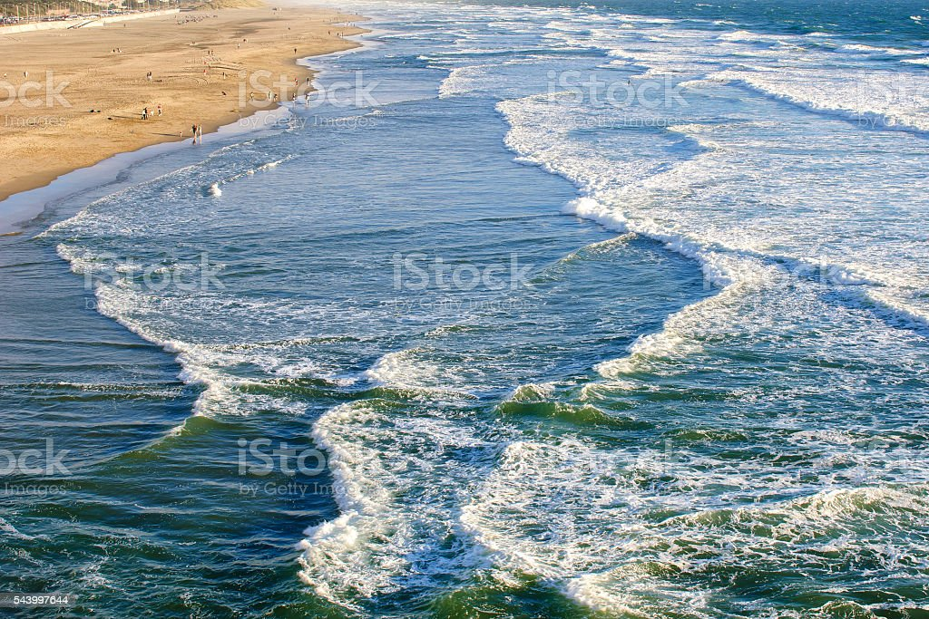 Ocean Waves Breaking Along San Francisco stock photo