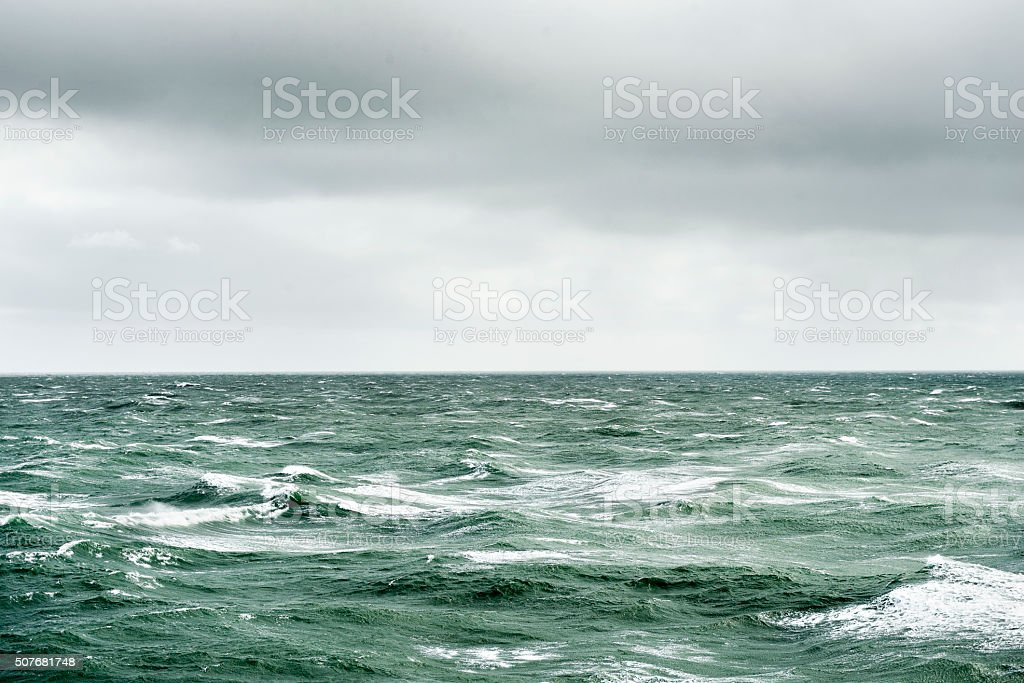 ocean waves during storm stock photo