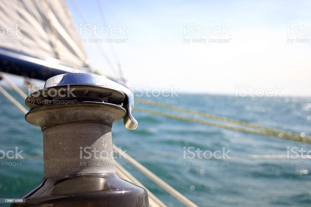 Ocean yacht  winch stock photo