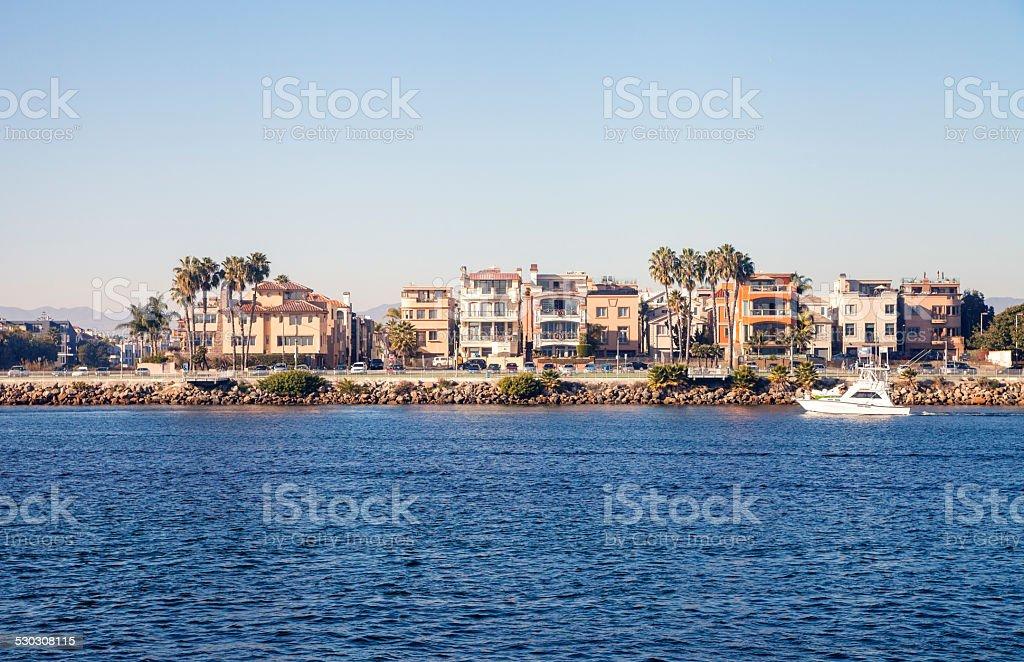 Oceanfront houses in Marina Del rey stock photo