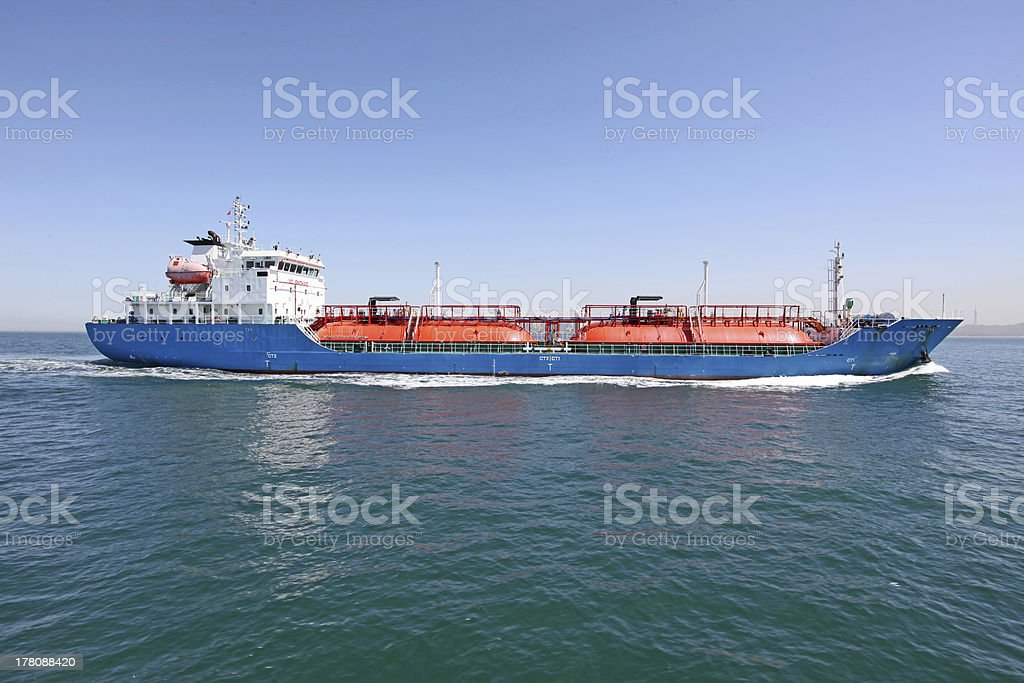 Ocean-going freighters stock photo